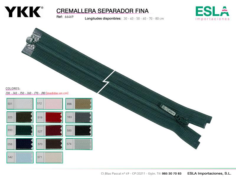 Cremallera separador fina, Nylon 3, YKK, Ref 66469