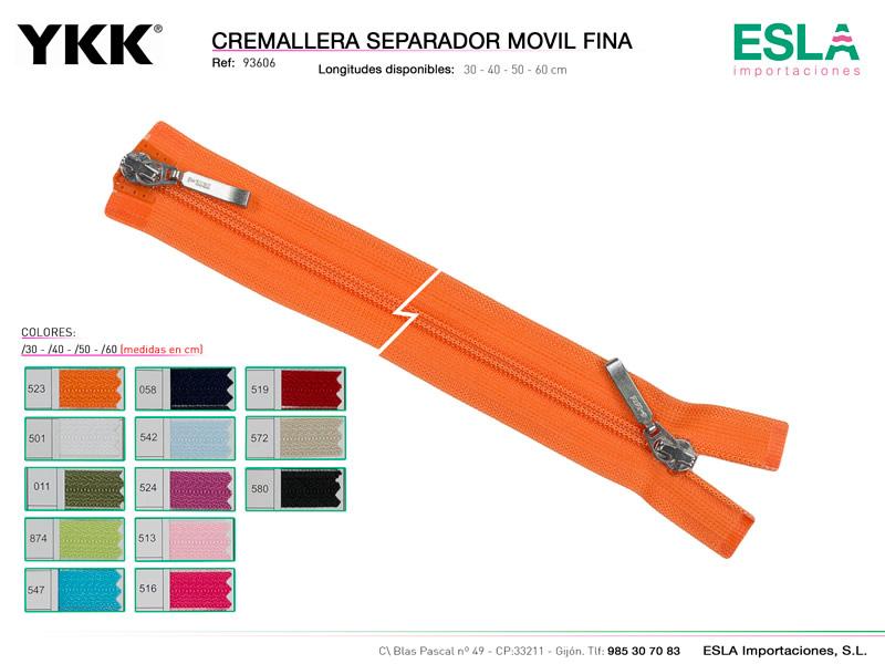 Cremallera separador, doble cursor, Nylon 3, YKK, Ref 93606