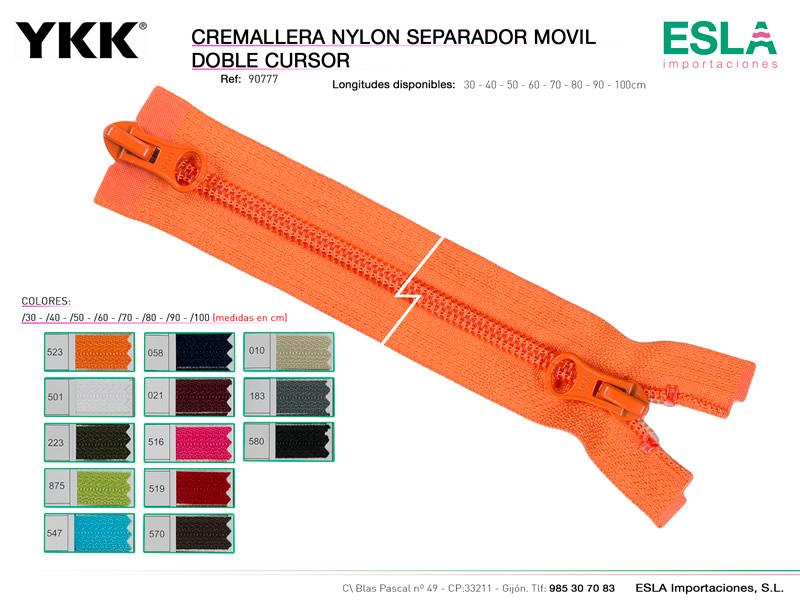 Cremallera separador, Nylon 5, doble cursor, YKK, Ref 90777