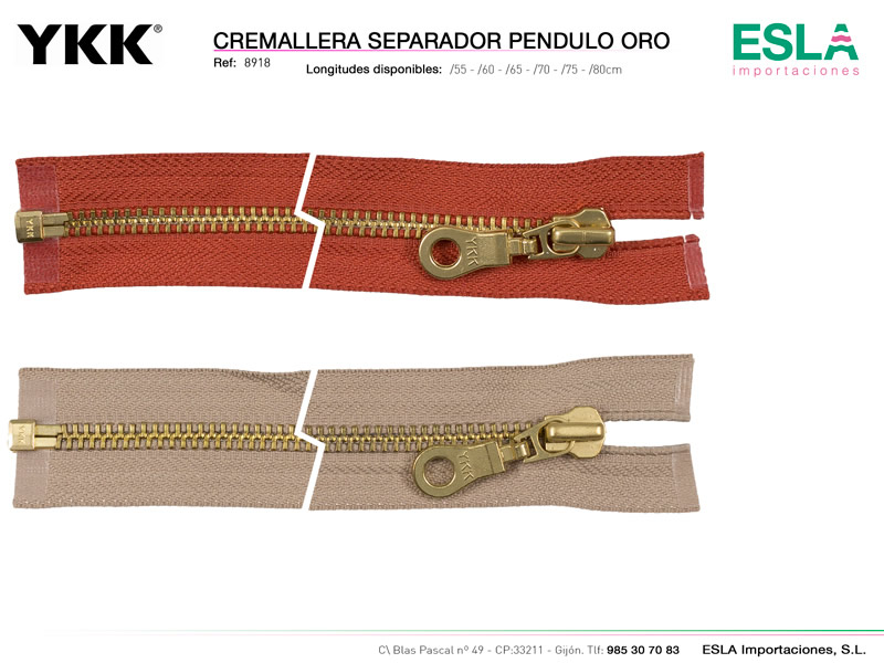 Cremallera pendulo oro, Separador, YKK, Ref 8918