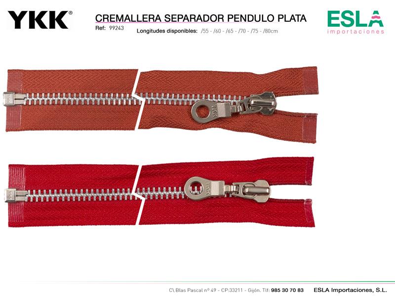 Cremallera pendulo plata, separador, YKK, Ref 99243