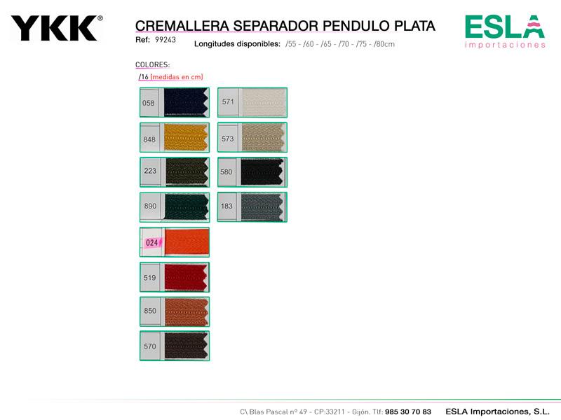 Cremallera pendulo plata, separador, Carta de colores, YKK, Ref 99243