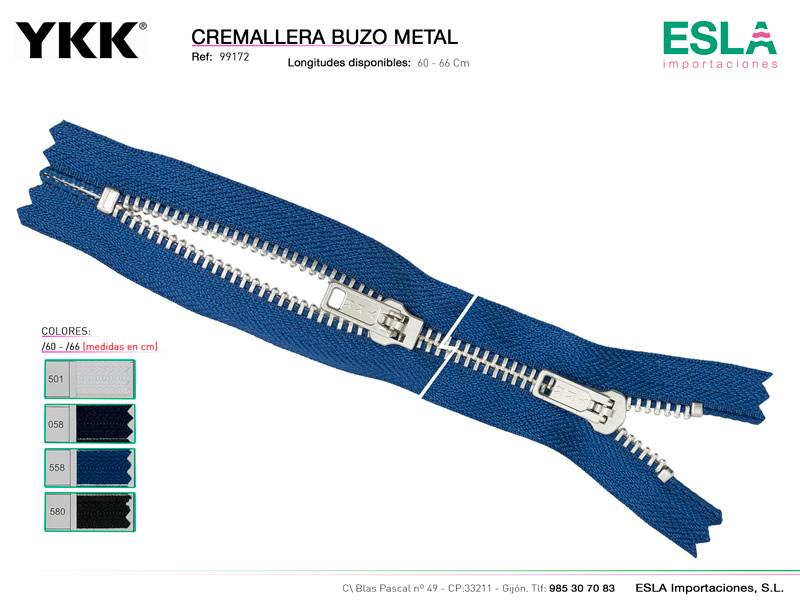 Cremallera buzo metal, Ref 99172