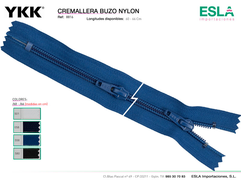 Cremallera buzo nylon, YKK, Ref 99172