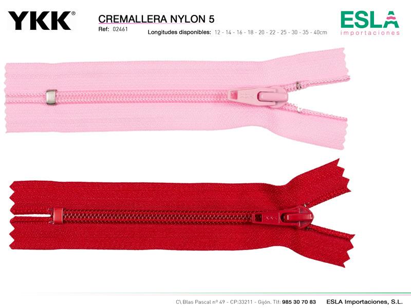 Cremallera nylon 5 cerrada, YKK, Ref 02461