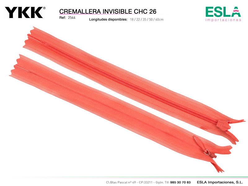 Cremallera invisible cerrada, CHC 26, YKK, Ref 2544