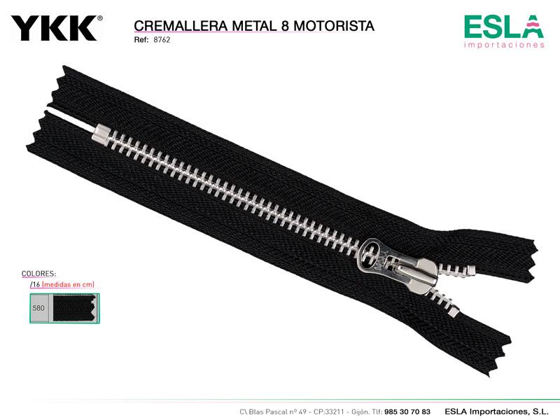 Cremallera metal 8, Motorista, YKK, Ref 8762