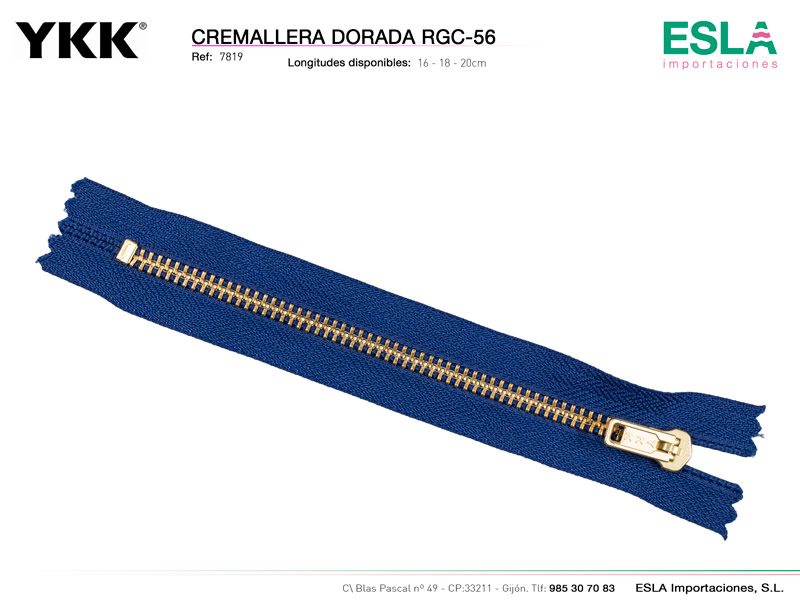 Cremallera metal dorada, No YGC, YKK, Ref 7819