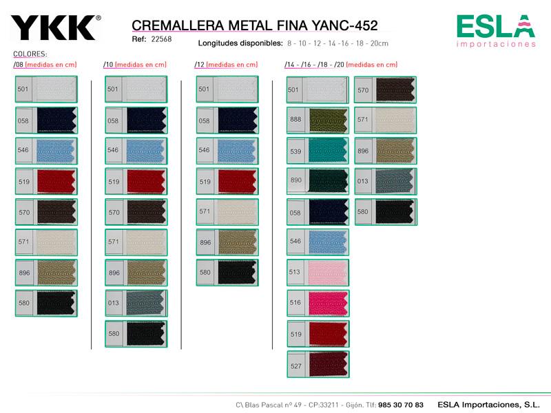 Cremallera metal fina YANC-452, YKK, Ref 22568