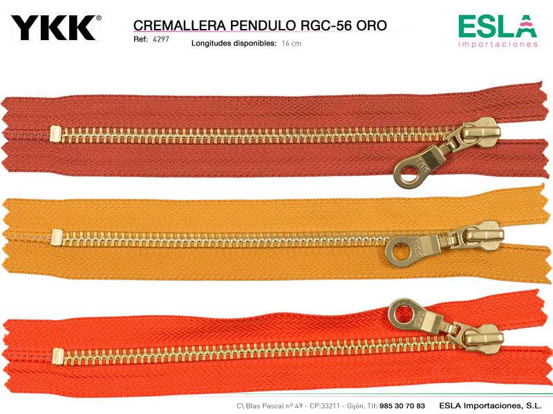 Cremallera metal oro pendulo, cerrada,  YKK, Ref 4297