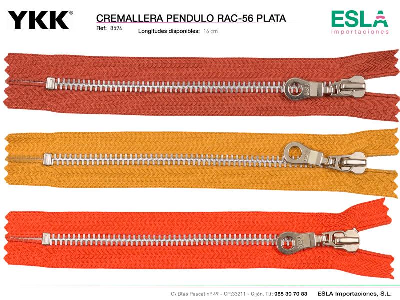 Cremallera metal pendulo plata, YKK, Ref 8594