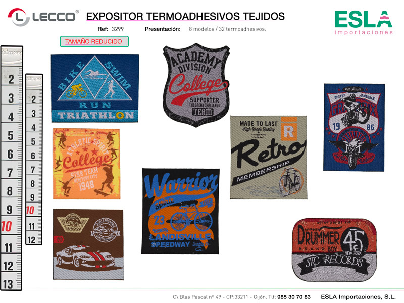 Expositor termoadhesivos tejidos, LECCO, Ref 3299
