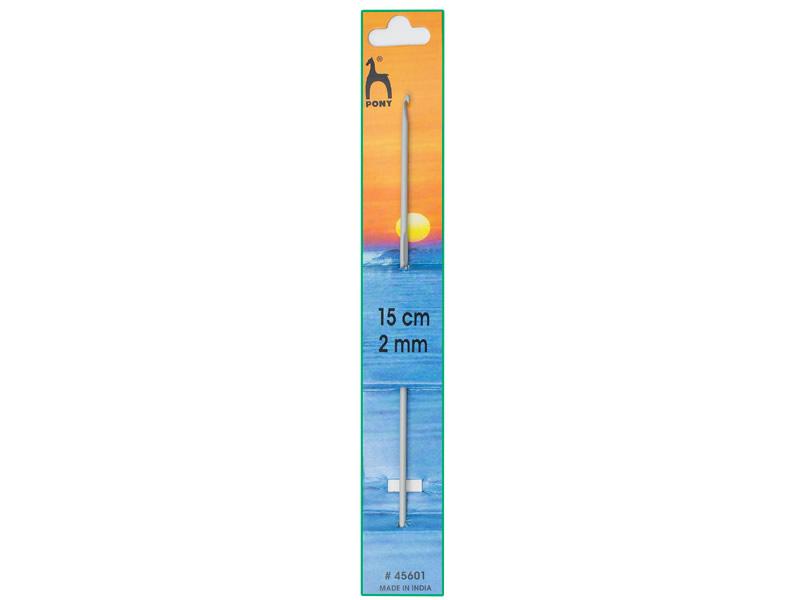 Ganchillo aluminio de 15cm, ancho - 2mm, PONY , Ref 45601