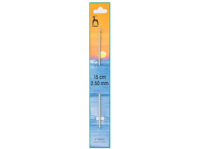 Ganchillo aluminio de 15cm, ancho - 2.5mm, PONY , Ref 45603