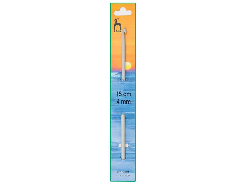 Ganchillo aluminio de 15cm, ancho - 4mm, PONY , Ref 45609