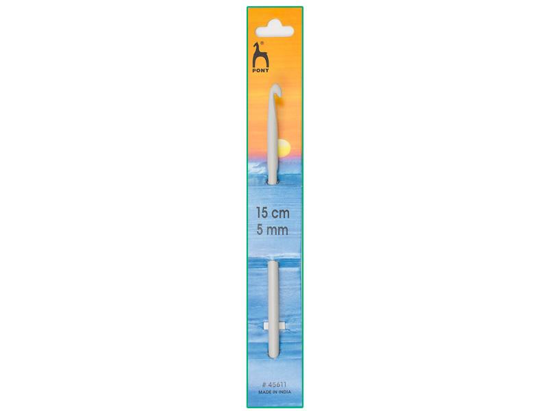 Ganchillo aluminio de 15cm, ancho - 5mm, PONY , Ref 45611