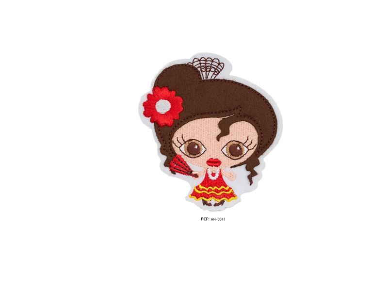 Parche termoadhesivo bordado, Infantiles, muñeca flamenca, Ref AH-0041