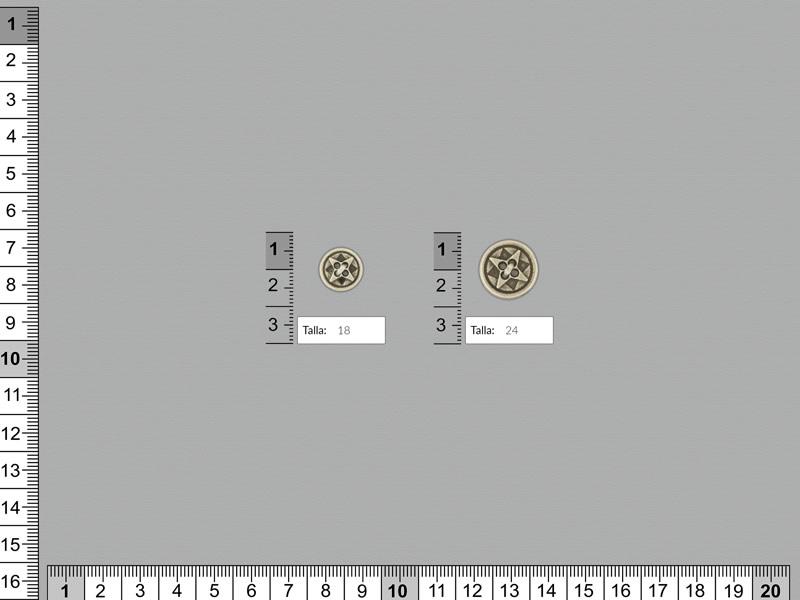 Botón metálico, color plata vieja, Ref AF-851