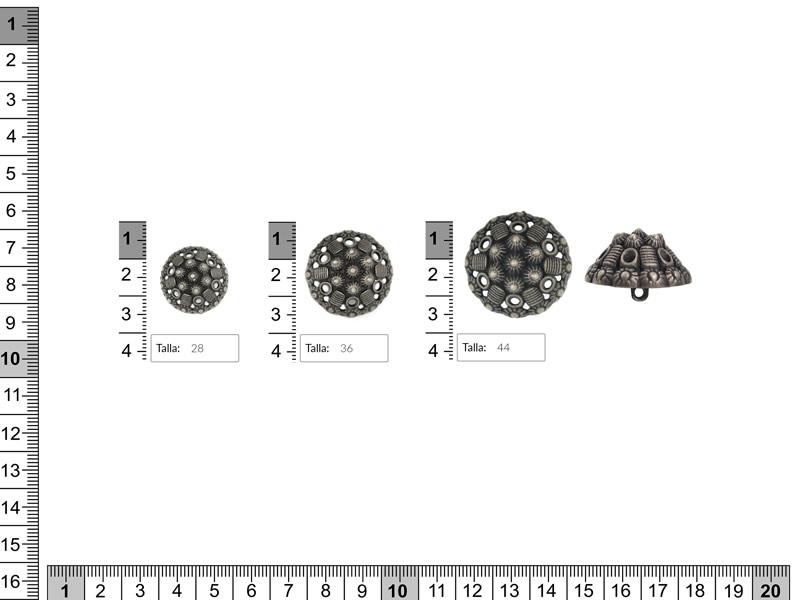 Botón metalico, Color plata, tres tamaños, Ref B-1036