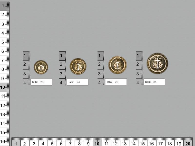 Botón metal, Botón dorado, cuatro tamaños disponibles, Ref 157