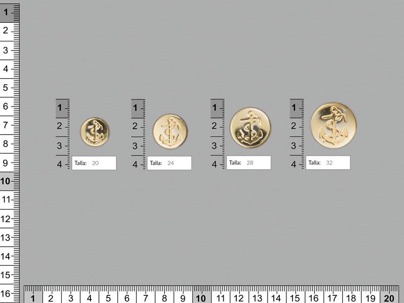 Botón metal, Botón dorado, cuatro tamaños disponibles, Ref 159