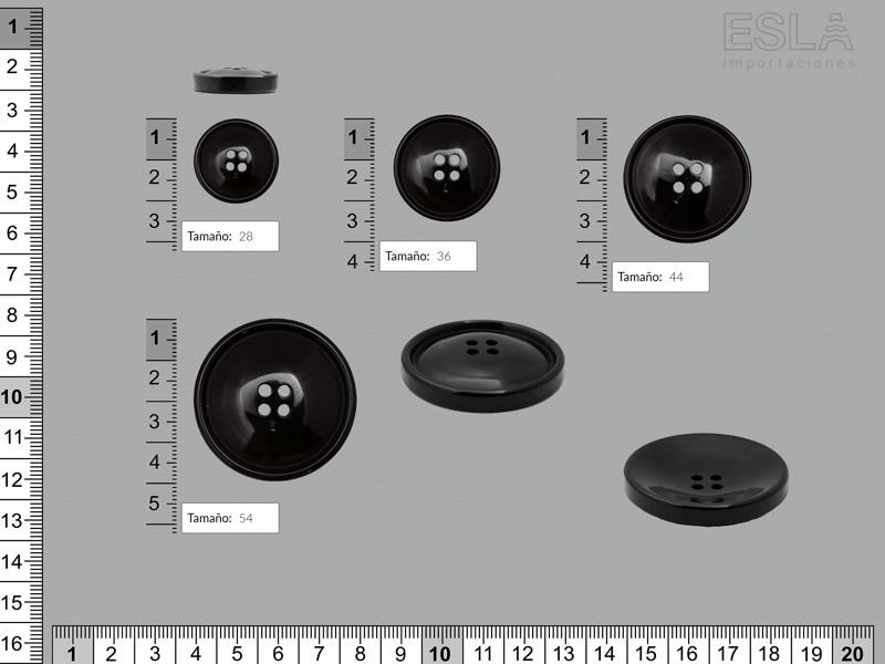 Botón pasta, Botón negro, cuatro tamaños disponibles, Ref 539