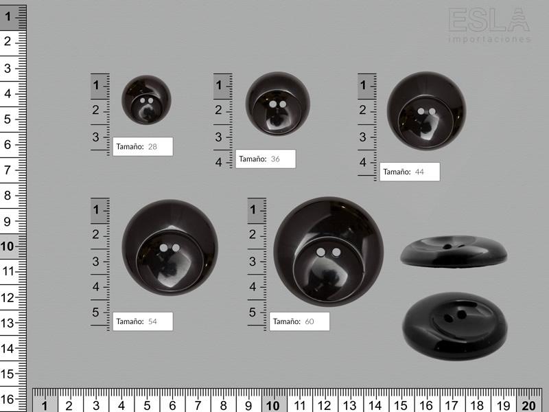 Botón pasta, Botón negro, cinco tamaños disponibles, Ref 541