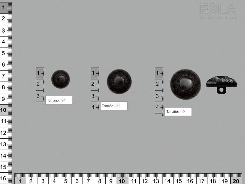 Botón pasta, Botón negro, tres tamaños disponibles, Ref B-612