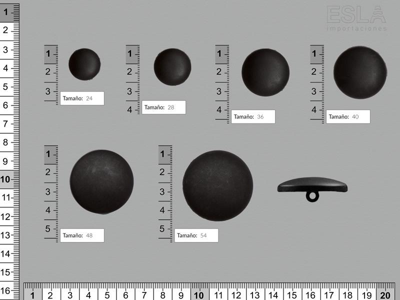 Botón pasta, Botón negro, seis tamaños disponibles, Ref B-651