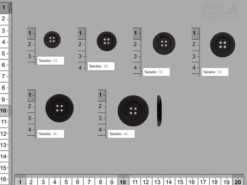 Botón pasta, Botón negro, cuatro tamaños disponibles, Ref B-826