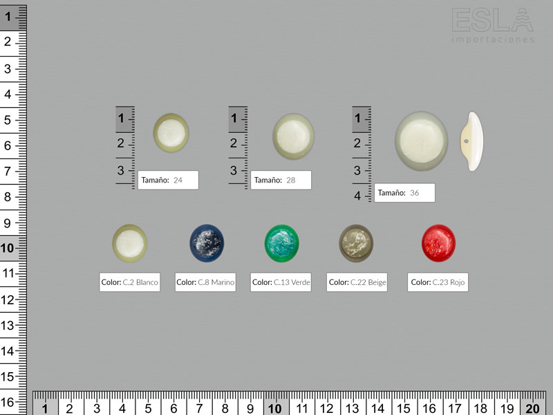 Botón pasta, cinco colores, tres tamaños disponibles, Ref 4986