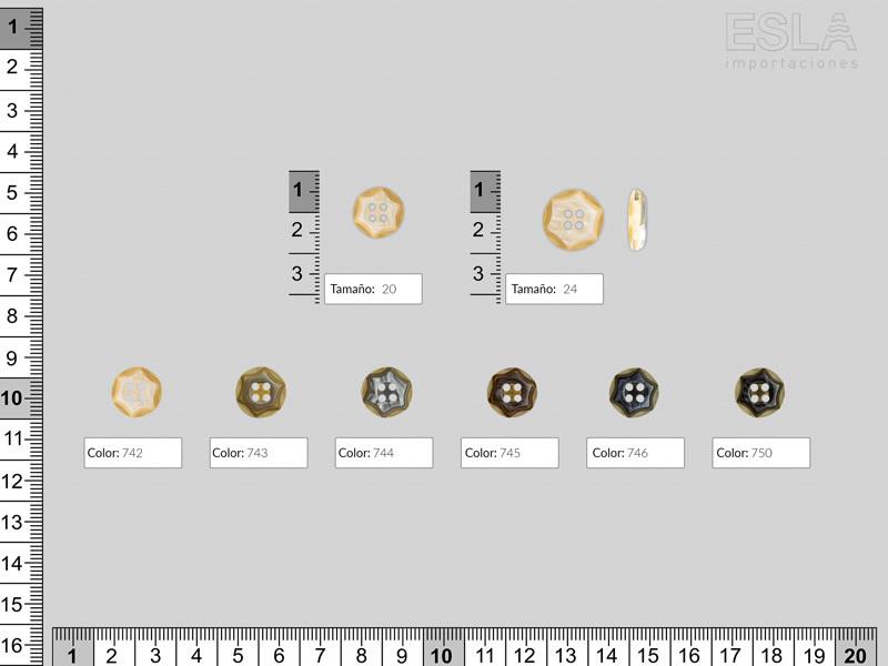 Botón pasta, seis colores, dos tamaños disponibles, Ref 4996