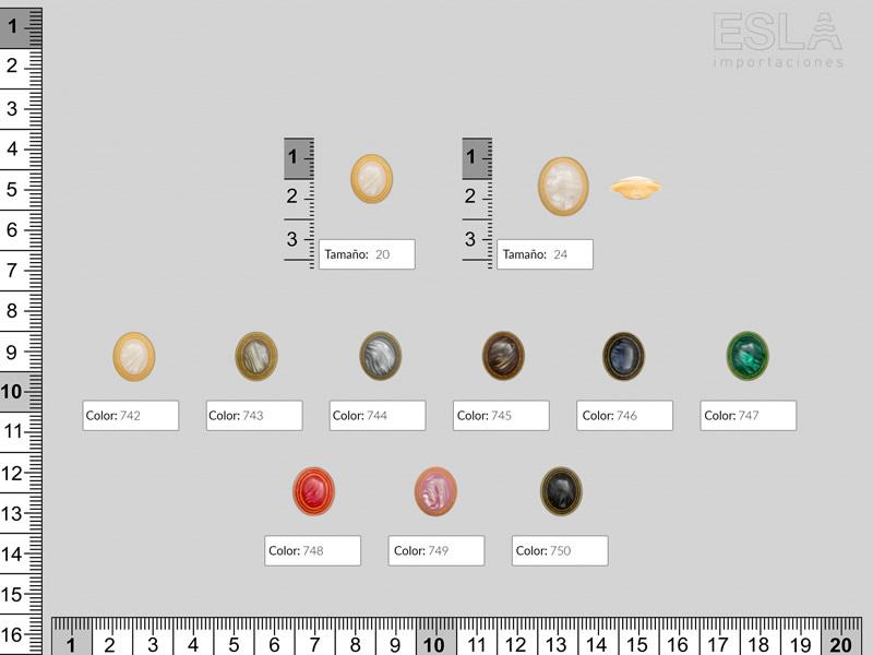 Botón pasta, nueve colores, dos tamaños disponibles, Ref 4997