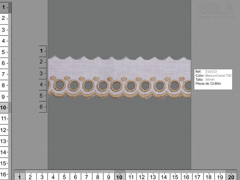 Tira bordada, entredos,Dos colores, Ref 216153