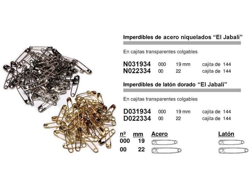 Imperdible acero y latón, El Jabalí, Ref N031934