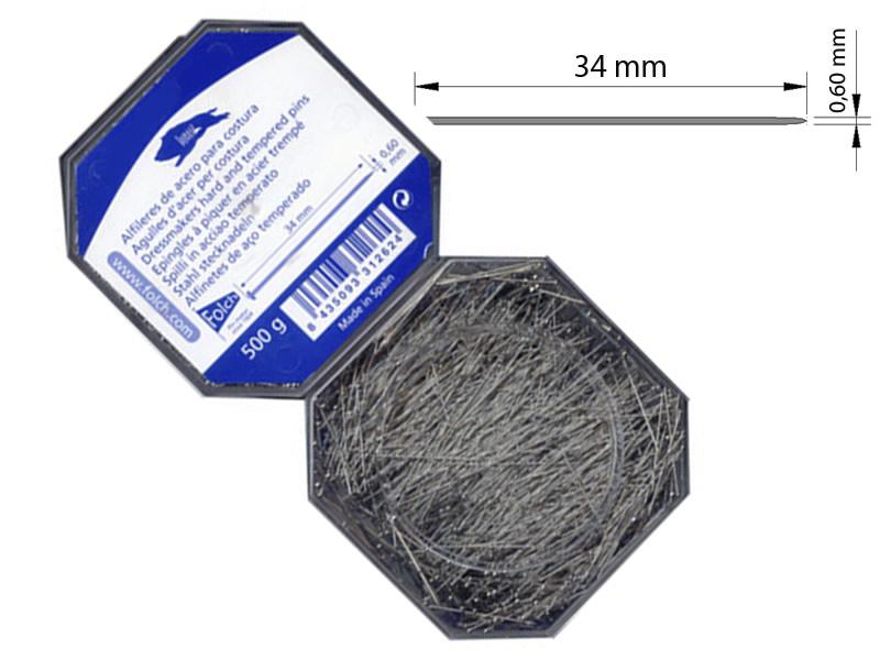 Alfiler acero, caja de 500gr, Ref AAN346001