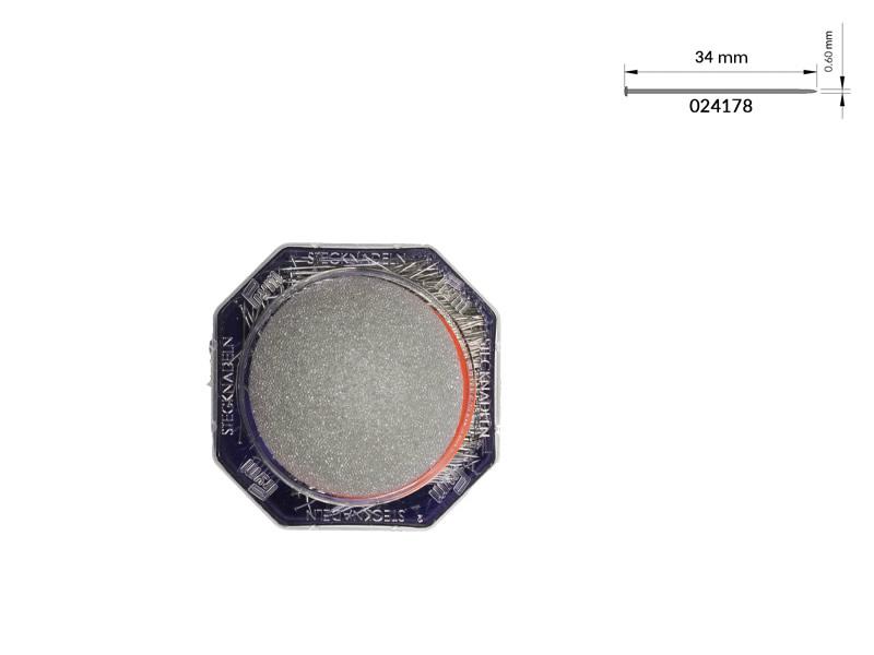 Alfiler acero, Caja 50gr, Con esponja, Ref 024178