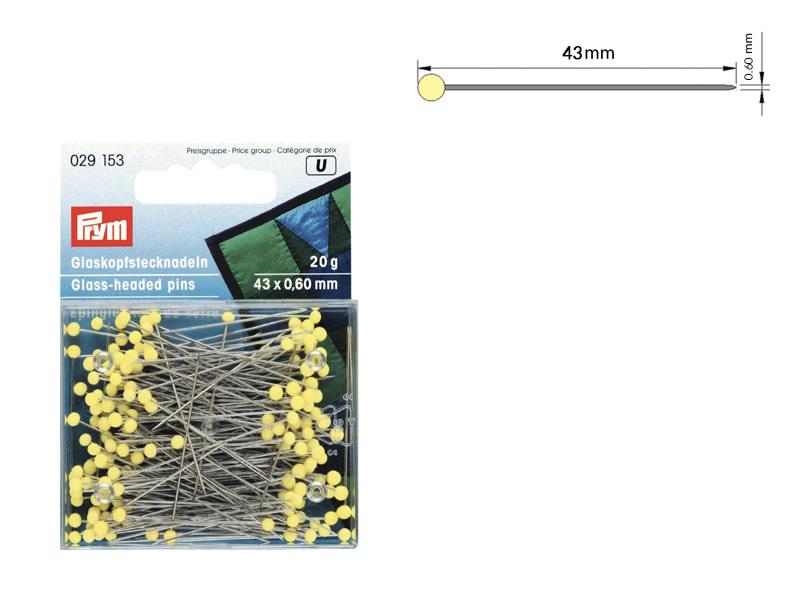 Alfiler acero, cabeza de vidrio, caja de 20gr, Ref 029153