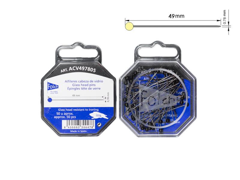 Alfiler cabeza de vidrio, color negro, FOLCH, Ref ACV497805