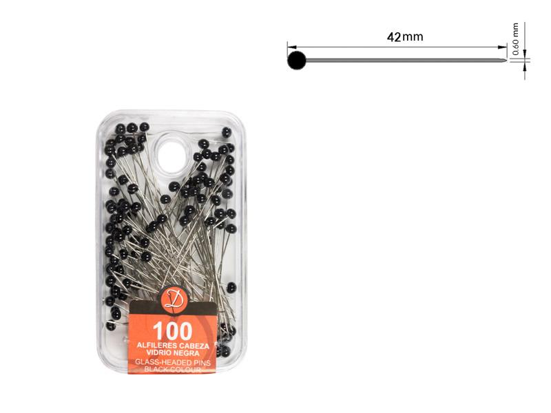 Alfiler cabeza de vidrio, color negro, caja de 100 unidades, Ref 192-N2