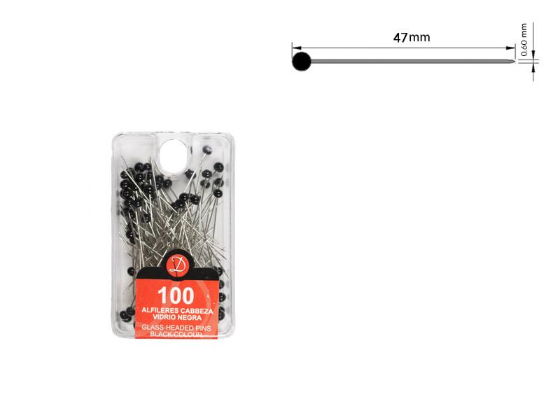 Alfiler cabeza de vidrio, color negro, caja de 100 unidades, Ref 192-N5