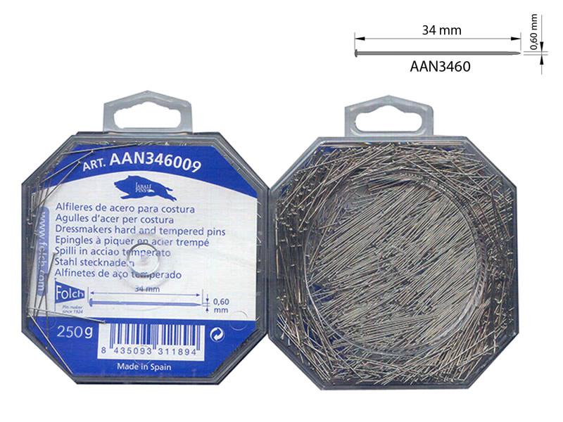 Caja 250gr, Alfileres acero, El jabalí, Ref AAN346009