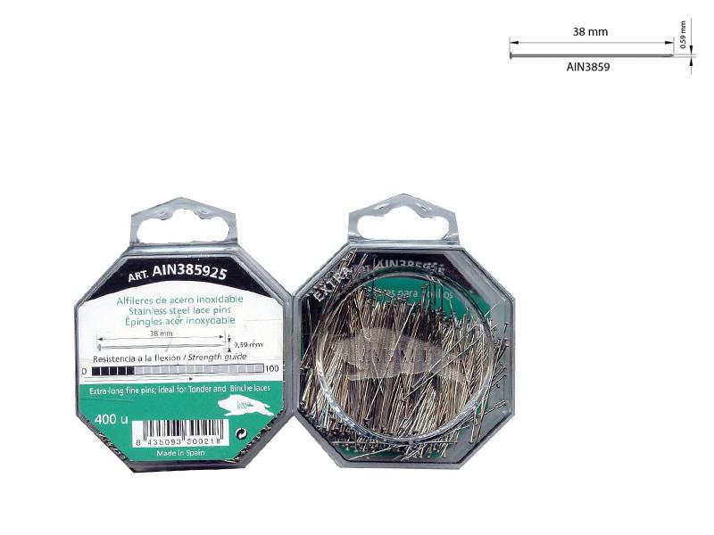 Alfileres acero inoxidable, caja 400 unidades, El jabalí, Ref AIN385925