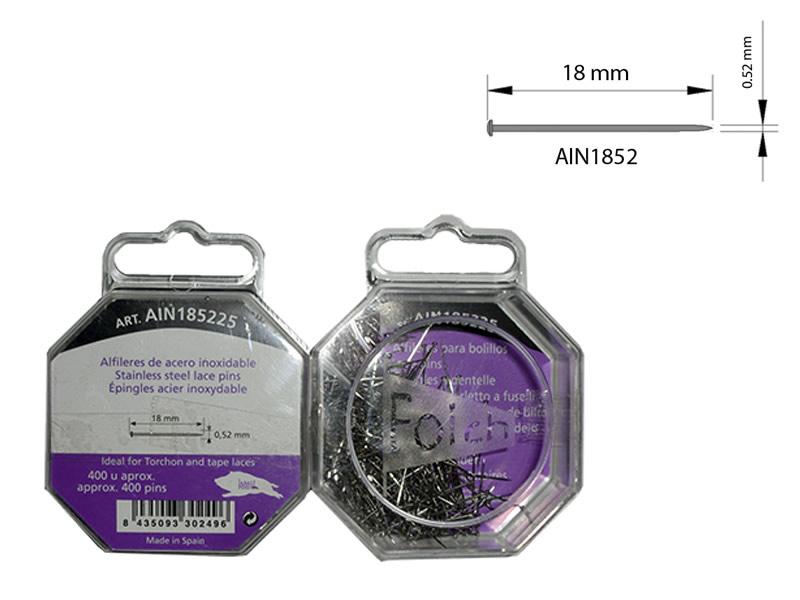 Alfileres acero inoxidable, caja 400 unidades, El jabalí, Ref AIN185225