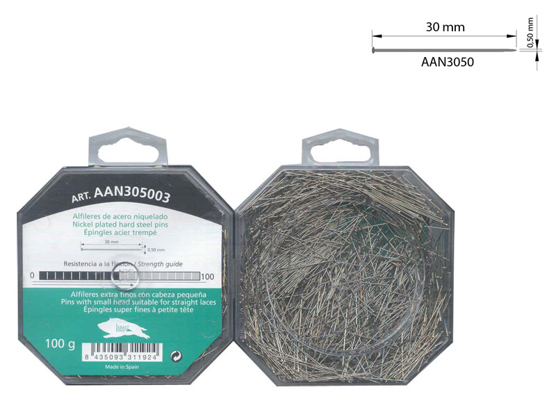 Alfiler acero, Caja 100gr, El Jabalí, Ref AAN305003