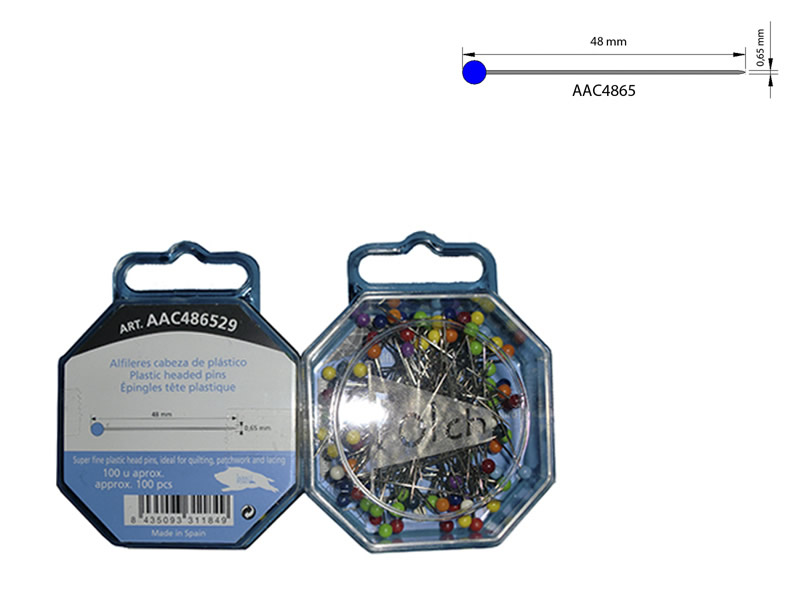 Alfiler cabeza plástico, Caja 100 unidades, El Jabalí, Ref AAC486429