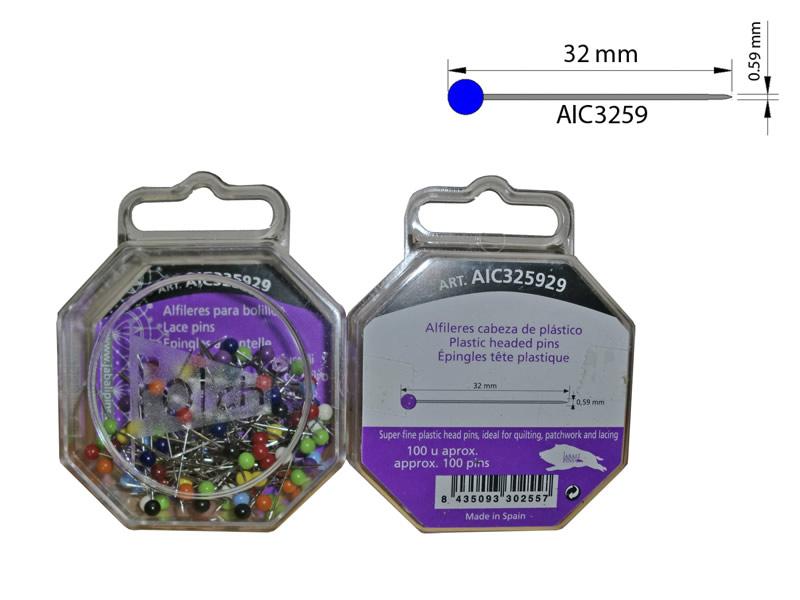 Alfiler cabeza plástico, Caja 100 unidades, El Jabalí, Ref AIC325929