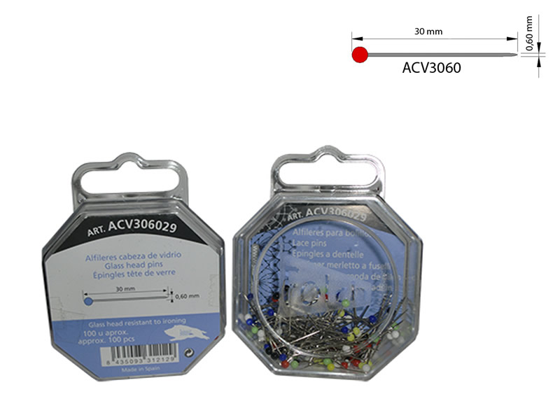 Alfiler acero, cabeza de vidrio, caja de 100 unidades, Ref ACV306029