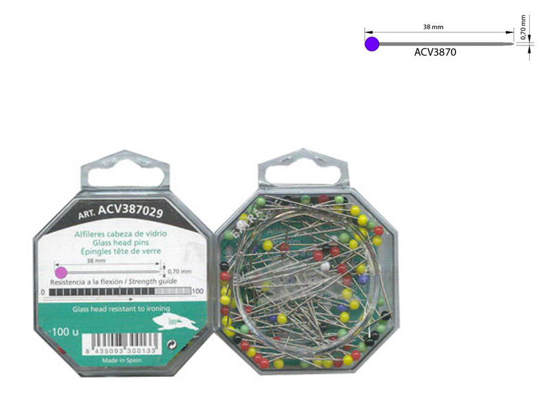Alfiler acero, cabeza de vidrio, caja de 100 unidades, Ref ACV387029