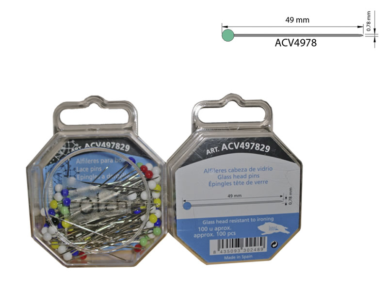 Alfiler acero, cabeza de vidrio, caja de 100 unidades, Ref ACV497829